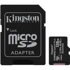 128GB microSD Class10 A1 UHS-I + SD adapter  Kingston Canvas Select Plus