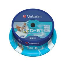 CD-R   Printable  25*Cake, Verbatim, 700MB, 52x, AZO, Printable Full I