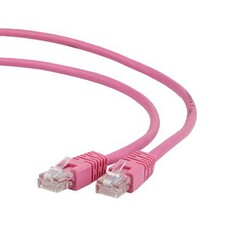 Patch Cord     5m, Pink, PP12-5M/RO, Cat.5E, Gembird, molded strain re