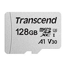 128GB MicroSD (Class 10) UHS-I (U1)+SD adapter, Transcend TS128GUSD300S